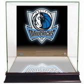 Dallas Mavericks Logo Background Glass Basketball Display Case