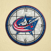 "Columbus Blue Jackets 12"" Art Glass Clock"
