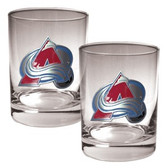 Colorado Avalanche 2pc Rocks Glass Set - Primary Logo