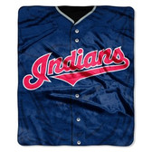 "Cleveland Indians 50""x60"" Royal Plush Raschel Throw Blanket - Jersey Design"