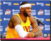 Cleveland Cavaliers LeBron James 2014 Press Conference 16x20 Stretched Canvas