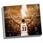 """Cleveland Cavaliers LeBron James """"Powder"""" Back View 24x26 Stretched Canvas"""