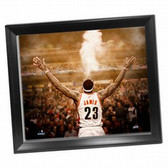 """Cleveland Cavaliers LeBron James """"Powder"""" Back View 24x26 Framed Canvas"""