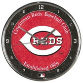 Cincinnati Reds Round Chrome Wall Clock