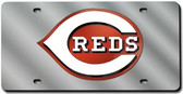Cincinnati Reds Laser Cut Silver License Plate
