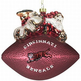 "Cincinnati Bengals 5 1/2"" Peggy Abrams Glass Football Ornament"