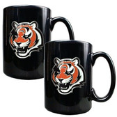 Cincinnati Bengals 2pc Black Ceramic Mug Set - Primary Logo