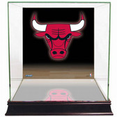 Chicago Bulls Logo Background Glass Basketball Display Case