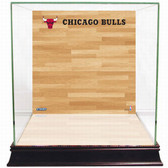 Chicago Bulls Logo On Court Background Glass Basketball Display Case