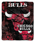 "Chicago Bulls 50""x60"" Royal Plush Raschel Throw Blanket - Drop Down Design"