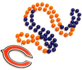 Chicago Bears Mardi Gras Beads with Medallion