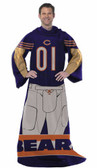 Chicago Bears Comfy Throw Blanket With Sleeves - Player Design