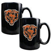 Chicago Bears  2pc Black Ceramic Mug Set - Primary Logo