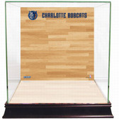 Charlotte Bobcats Logo On Court Background Glass Basketball Display Case