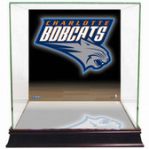Charlotte Bobcats Logo Background Glass Basketball Display Case