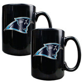 Carolina Panthers 2pc Black Ceramic Mug Set - Primary Logo