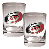 Carolina Hurricanes 2pc Rocks Glass Set - Primary Logo