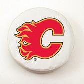 Calgary Flames White Tire Cover, Small