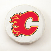 Calgary Flames White Tire Cover, Large