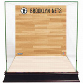 Brooklyn Nets Logo On Court Background Glass Basketball Display Case