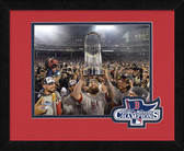 Boston Red Sox Mike Napoli with Trophy 2013 World Series Champions Logo Mat Framed