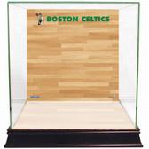 Boston Celtics Logo On Court Background Glass Basketball Display Case