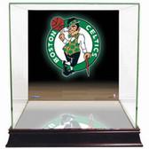 Boston Celtics Logo Background Glass Basketball Display Case