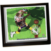 Boston Celtics Larry Bird/ Magic Johnson Framed Stretched 22x26 Canvas