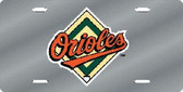 Baltimore Orioles Laser Cut Silver License Plate