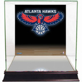 Atlanta Hawks Logo Background Glass Basketball Display Case
