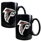 Atlanta Falcons 2pc Black Ceramic Mug Set - Primary Logo