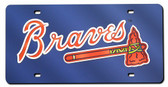 Atlanta Braves Laser Cut Navy License Plate