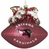 "Arizona Cardinals 5 1/2"" Peggy Abrams Glass Football Ornament"