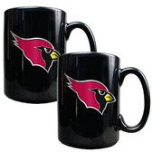 Arizona Cardinals 2pc Black Ceramic Mug Set - Primary Logo