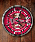 Wisconsin Badgers Chrome Clock