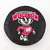 Wisconsin Badgers Black Tire Cover, Large