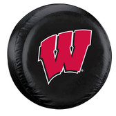 Wisconsin Badgers Black Tire Cover - Standard Size