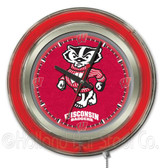 Wisconsin Badgers Badger Logo Neon Clock