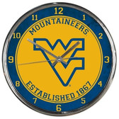 West Virginia Mountaineers Round Chrome Wall Clock