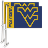 West Virginia Mountaineers Car Flag w/Wall Bracket Set Of 2
