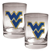 West Virginia Mountaineers 2pc Rocks Glass Set