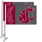 Washington State Cougars Car Flag w/Wall Bracket Set Of 2