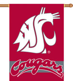 "Washington State Cougars 2-Sided 28"" x 40"" Banner w/ Pole Sleeve"