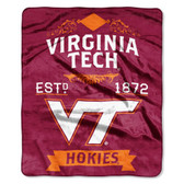 "Virginia Tech Hokies 50""x60"" Royal Plush Raschel Throw Blanket -  Label Design"