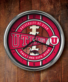 Utah Utes Chrome Clock