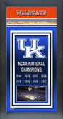 University of Kentucky Wildcats Framed Championship Banner