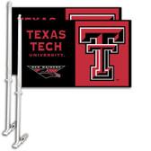 Texas Tech Red Raiders Car Flag w/Wall Bracket Set Of 2