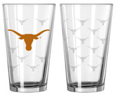Texas Longhorns Satin Etch Pint Glass Set
