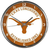 Texas Longhorns Round Chrome Wall Clock