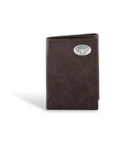 Texas Longhorns Leather Wrinkle Brown Trifold Wallet